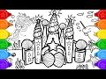 Glitter mermaid castle coloring and drawing for kids, how to draw a glitter castle coloring page