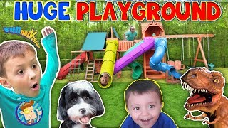Download Giant Playground Surprise from DINOSAUR! 😱 5 Slides!! (FUNnel Vision Vlog) Video