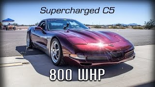 Download Corvette C5 Supercharged with 800WHP standing half mile runs and walk around Video