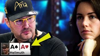 Download Phil Hellmuth TRAPS Liv Boeree With Pocket Aces - Crazy Poker Hand Video