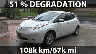 Download Leaf with 51 % degradation after 108k km/67k mi Video