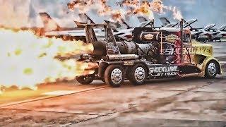 Download Shockwave Jet Truck Shoots Flames On Runway Dragstrip Video