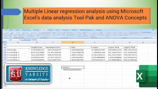 Download Multiple Linear regression analysis using Microsoft Excel's data analysis toolpak and ANOVA Concepts Video