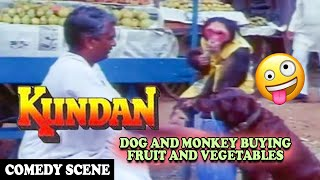 Download Dog and Monkey Buying Fruit and Vegetables Comedy Scene | Kundan Movie | Dharmendra Video
