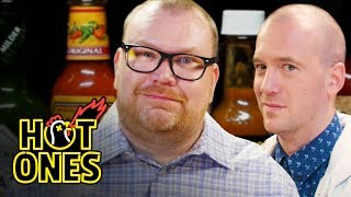 Download Superfan Brett Baker Grills Sean Evans Over Spicy Wings | Hot Ones Video