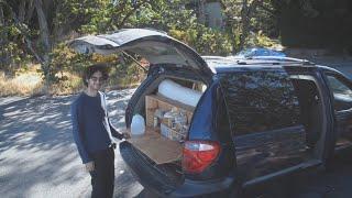 Download Stealth Mini Van camper conversion tour. Unique kitchen and sliding bed frame. Video