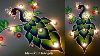 Download Beautiful Peacock Rangoli Design Video