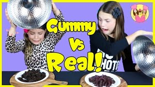 Download GUMMY VS REAL FOOD CHALLENGE Taste test Candy - Healthy - gross - Kids react - Ash freaks out! Video