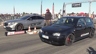 Download 750HP VW Golf 4 1.8 Turbo vs 900HP Mercedes-Benz CLS63s AMG Video