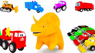 Download Learn with Dino the Dinosaur and the vehicules: trucks, trains, forklift, tiny cars... Video