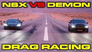 Download Scenic Drag Race! 840HP Dodge Demon vs Acura NSX 1/4 Mile Drag and Roll Races at the SEMA Show Video