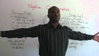 Download English Vocabulary - Negative Characteristics - arrogant, vain, snob... Video