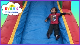 Download Inflatable Outdoor Playground for kids bounce house! Giant Slides Children Play Center Fun Video