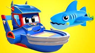Download Truck videos for kids - SHARKS versus SUPER BOAT - Super Truck in Car City ! Video