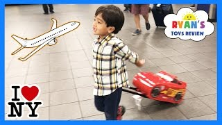 Download Ryan ToysReview Family Fun Trip Airplane to NYC Kinder Surprise Eggs Opening Kids Disney Toys Mashem Video