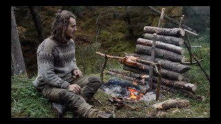 Download 6 days solo bushcraft - canvas lavvu, bow drill, spoon carving, Finnish axe Video