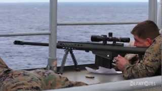 Download USMC Scout Snipers vs small boat (Barrett M107 .50 BMG Rifles) Video