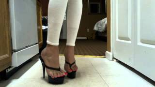 Download Pink toenails in thong platforms Video