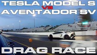 Download Lamborghini Aventador SV vs Tesla Model S P100D Ludicrous Plus Drag Race Video