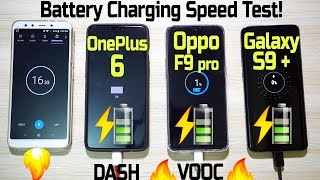 Download OPPO F9 Pro vs OnePlus 6 vs Galaxy S9 Plus BATTERY CHARGING SPEED TEST! (VOOC vs DASH Charge🔥) Video