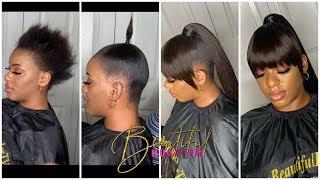 Download SHORT HAIR TRANSFORMATION 😍 Genie Ponytail With fringe Bang😍  Using Visso Pack Hair Video