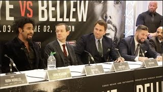 Download PROPER HEAVYWEIGHT BEEF!! - DAVID HAYE v TONY BELLEW *FULL & UNCUT* HEATED PRESS CONFERENCE Video