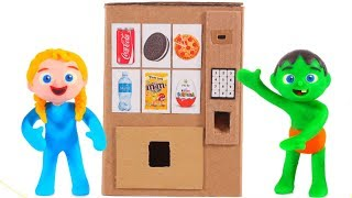 Download KIDS BUILD A VENDING MACHINE WITH CARDBOARD ❤ PLAY DOH CARTOONS FOR KIDS Video