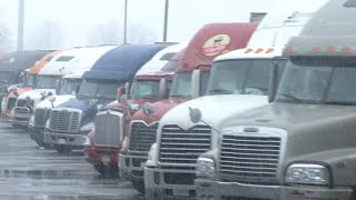 Download Commercial truck drivers ordered to stay off roads during storm Video