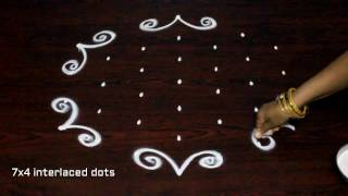 Download muggulu designs with 7x4 dots || simple kolam designs || easy rangoli art designs Video