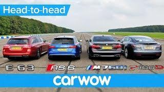 Download BMW M760Li v Tesla Model S v Audi RS 6 v Mercedes-AMG E63 S Estate DRAG & ROLLING RACE Video