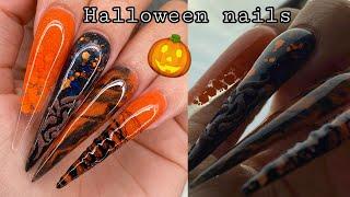 Download Black and Orange Halloween Nails Video