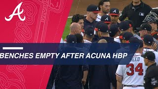 Download Benches clear after Ronald Acuna Jr. is hit by a pitch from Jose Urena Video