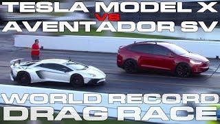 Download Tesla Model X P100D Ludicrous sets World Record vs Lamborghini Aventador SV Drag Racing 1/4 Mile Video