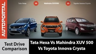 Download Tata Hexa Vs Mahindra XUV 500 Vs Toyota Innova Crysta Test Drive Comparison - Autoportal Video