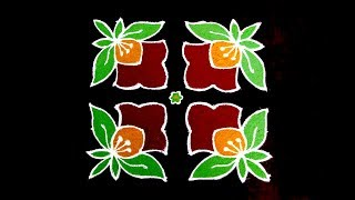 Download Daily Rangoli Designs For Beginners | 8x8 Dots Flower Rangoli | Simple & Small Flower Rangoli Video