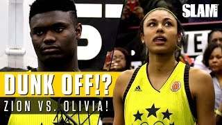 Download Zion Williamson Battles Olivia Nelson-Ododa for Dunk Contest at McDonald's All American Game! Video
