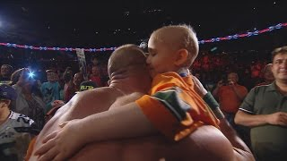 Download Seven-year-old cancer survivor Kiara Grindrod meets John Cena and Sting: WWE Raw, Sept. 14, 2015 Video