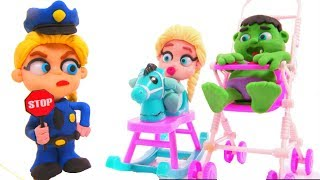 Download FROZEN ELSA POLICE STOPS SUPERHERO BABIES ❤ Hulk & Frozen Elsa Play Doh Cartoons For Kids Video