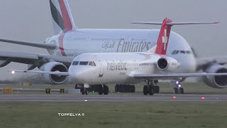 Download Does the Airbus A380 and Boeing 747 have a future ? Impressive head on view take off Manchester Video