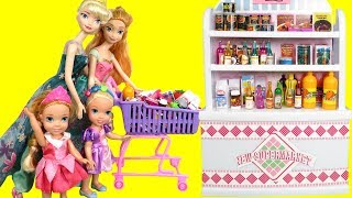 Download Mall SHOPPING ! Elsa and Anna toddlers at the Food Court - Beauty supplies - furniture- grocery Video