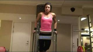 Download Bodyfitness girl doing dips Video
