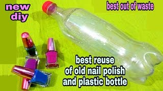 Download DIY Best out of waste plastic bottle and nail polish craft idea: reuse idea Video