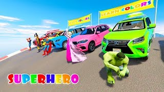 Download RAINBOW COLORS SUV CARS 3D animation cartoon for kids with Superheroes Video