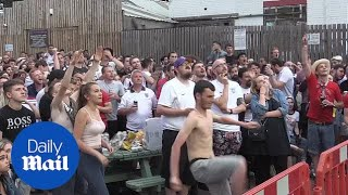 Download England fans react to Croatia goal and match heads into extra time Video