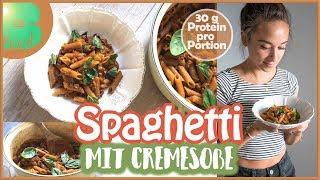 Download Spaghetti mit Cremesoße - ONE POT PASTA - ALDI Rezept - Günstig und gesund Kochen - Fitness Rezept Video
