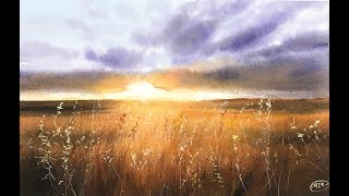 Download Landscape Painting Wheat Field in Watercolor Video