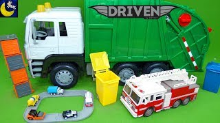 Download Driven by Battat Recycling Truck Mini Pocket Series 1 Surprise Cars Lights Sounds Fire Truck Toys! Video