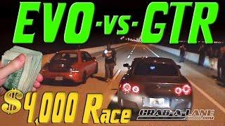 Download $4,000 Race | NISSAN GTR vs EVO | GRAB A LANE & K-O-T-S Video
