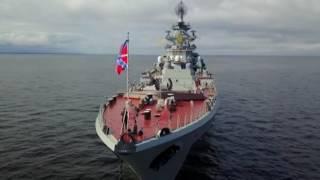 Download 'King of ships' & escort: Nuclear battlecruiser 'Pyotr Velikiy' near Saint Petersburg Video
