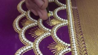 Download Making of checks pattern sleeves with pearls and Beads - Maggam work making video Video